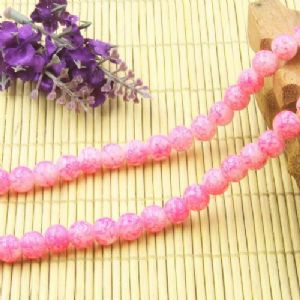 Beads, Glass, Light pink , Pink , Round shape, Diameter 8mm, 10 Beads, [BHB0099]